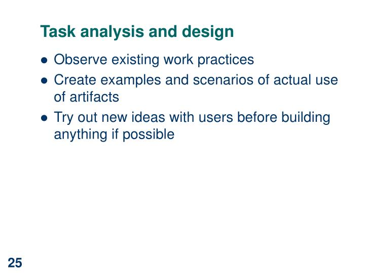 Task analysis and design