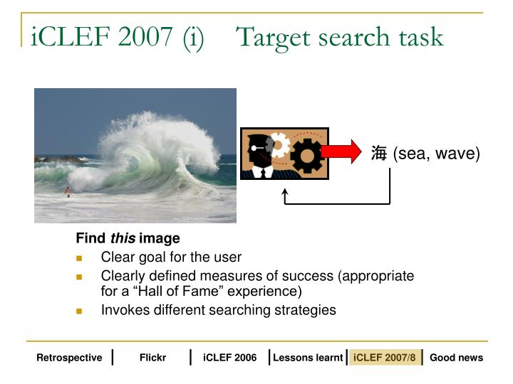 iCLEF 2007 (i)	Target search task