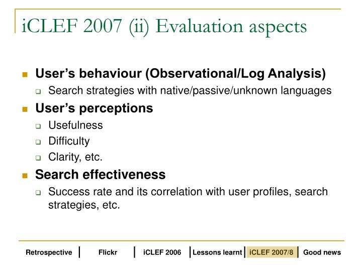 iCLEF 2007 (ii) Evaluation aspects