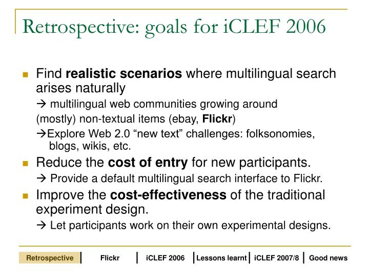 Retrospective: goals for iCLEF 2006