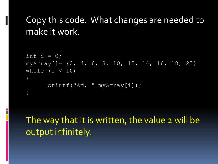 Copy this code.  What changes are needed to make it work.