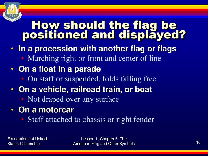How should the flag be positioned and displayed?