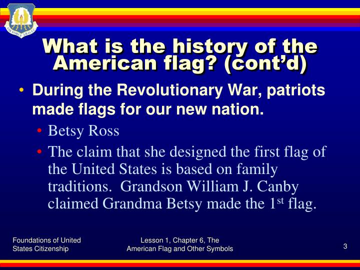 What is the history of the american flag cont d