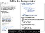 bubble sort implementation
