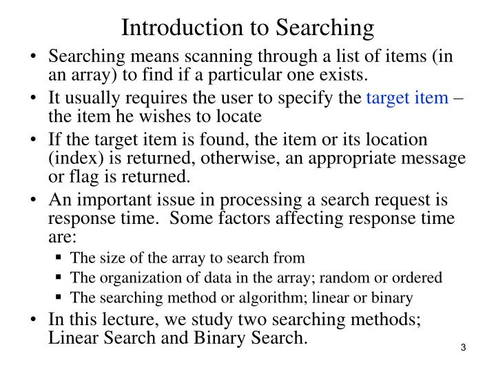 Introduction to searching