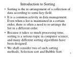 introduction to sorting