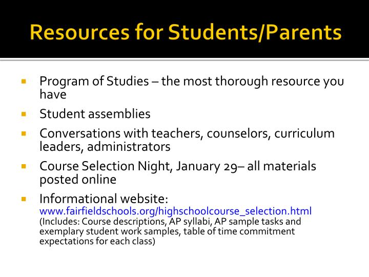 Resources for students parents