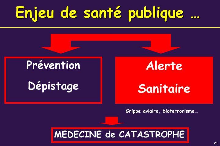 Enjeu de santé publique …