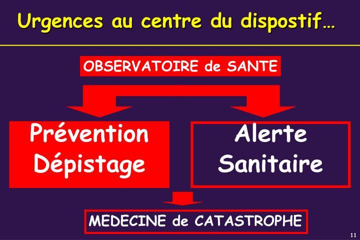 Urgences au centre du dispostif…