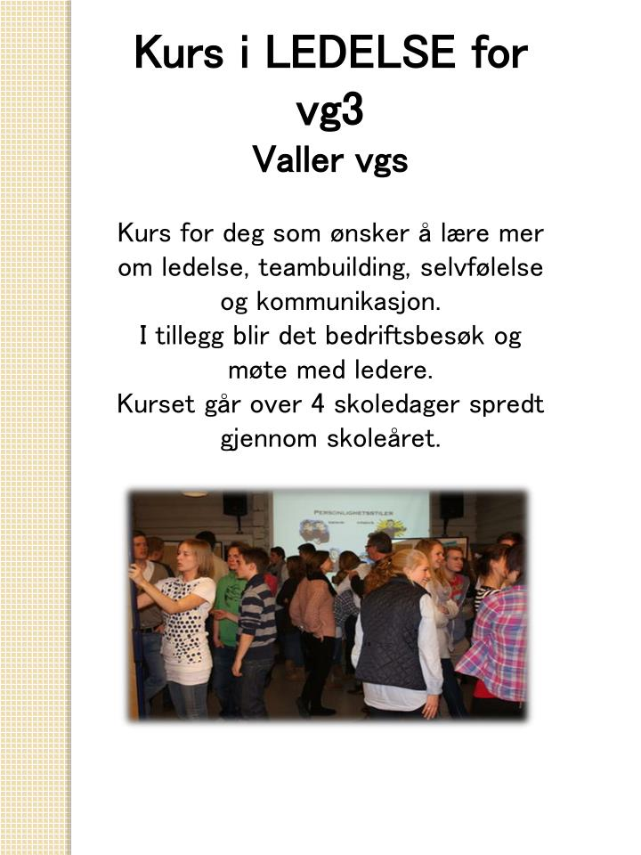 Kurs i LEDELSE for vg3