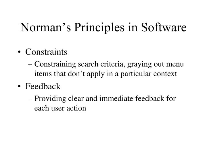 Norman's Principles in Software