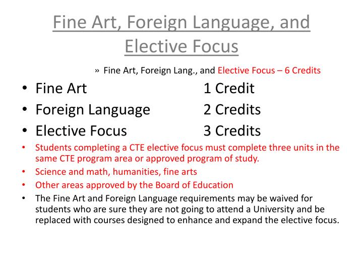 Fine Art, Foreign Language, and Elective Focus
