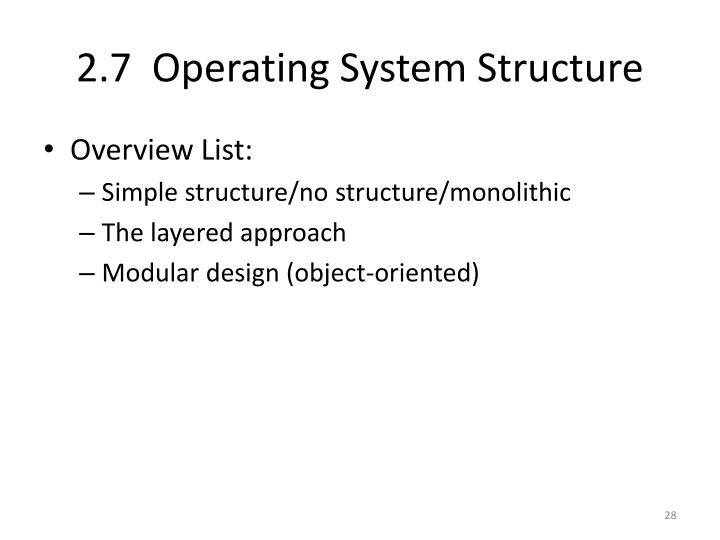 2.7  Operating System Structure