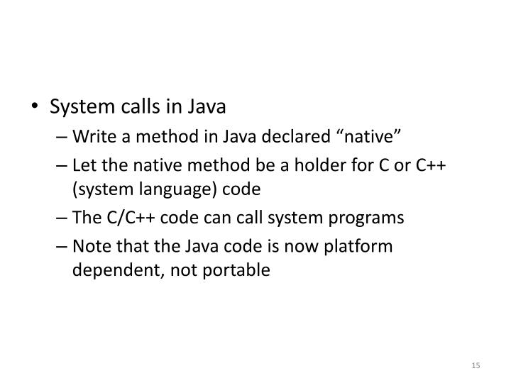 System calls in Java