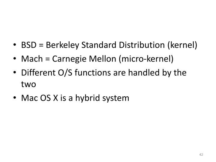 BSD = Berkeley Standard Distribution (kernel)