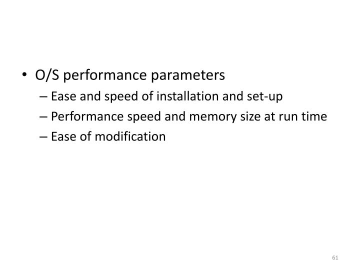 O/S performance parameters
