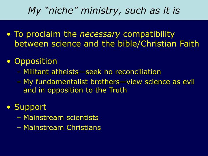 """My """"niche"""" ministry, such as it is"""