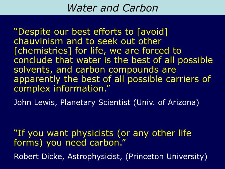 Water and Carbon