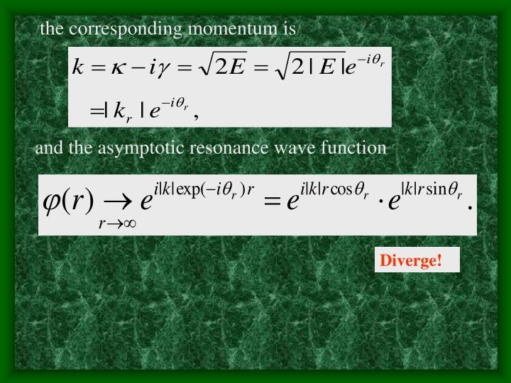 the corresponding momentum is