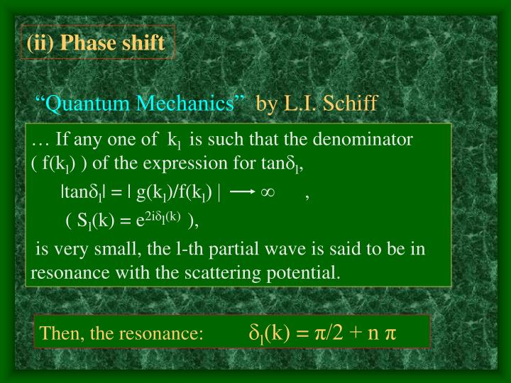 (ii) Phase shift