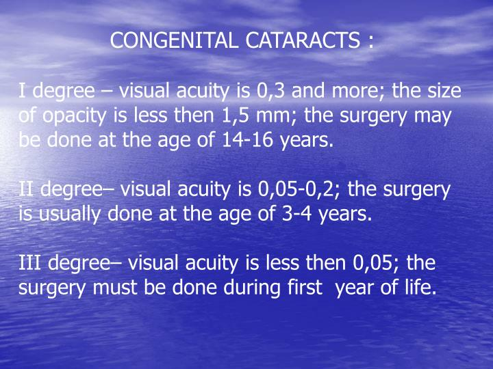 CONGENITAL CATARACTS