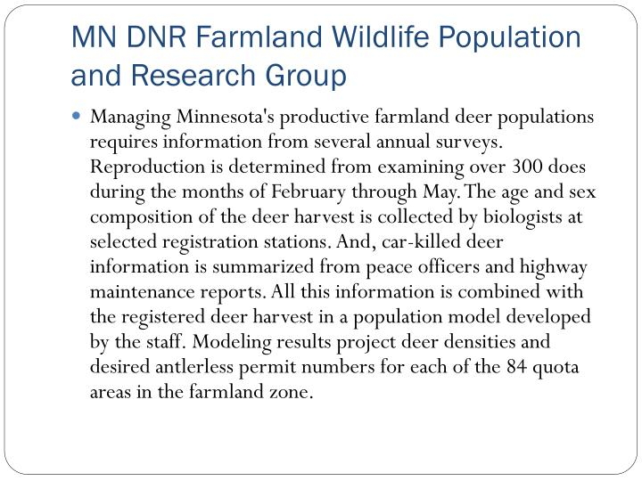 MN DNR Farmland Wildlife Population and Research Group