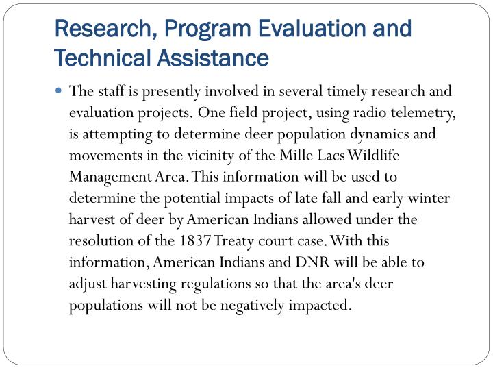 Research, Program Evaluation and Technical