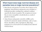 what impact does large mammal disease and parasites have on large mammal populations