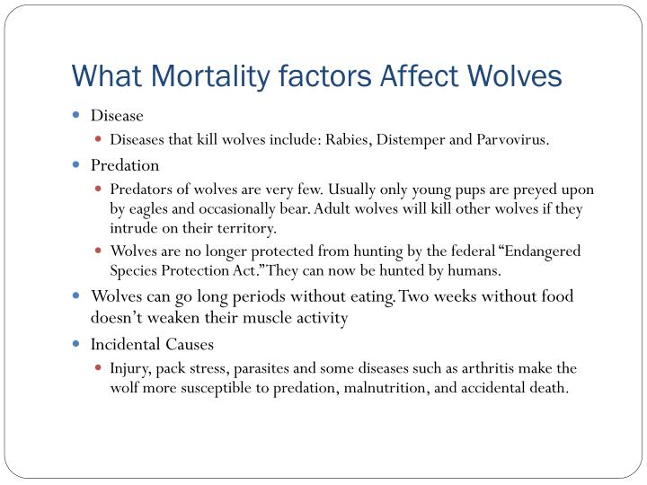 What Mortality factors Affect Wolves