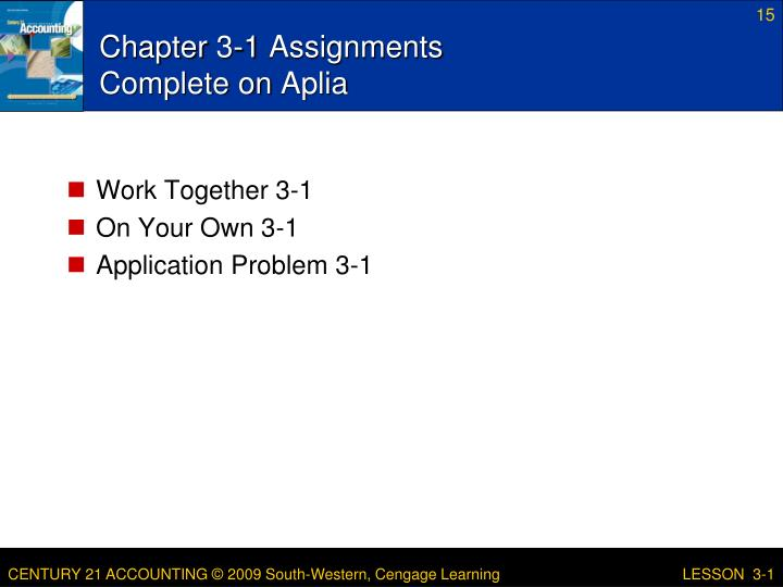 Chapter 3-1 Assignments