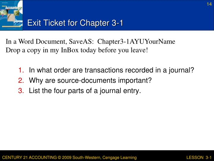 Exit Ticket for Chapter 3-1