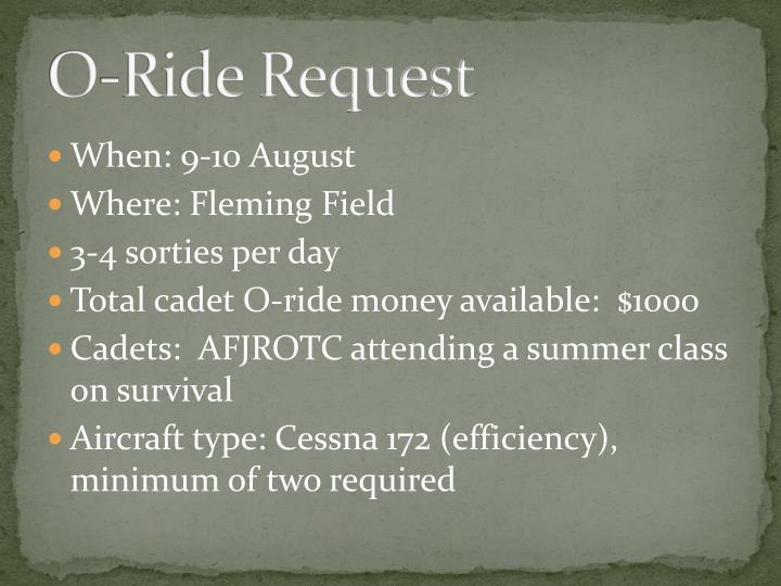O-Ride Request