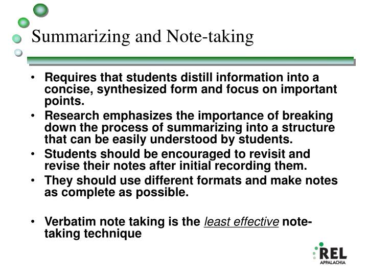 Summarizing and Note-taking