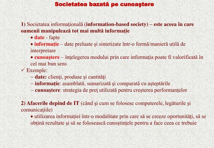 Societatea bazată pe cunoaştere