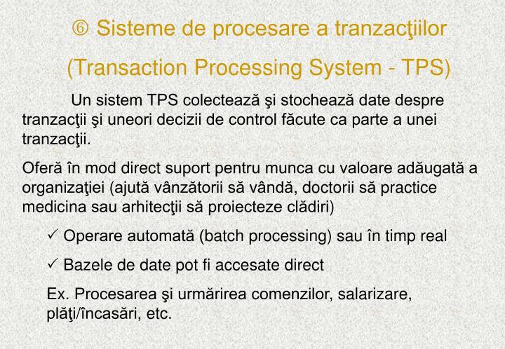 Sisteme de procesare a tranzacţiilor