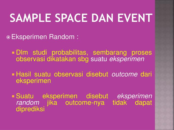 Sample space dan event