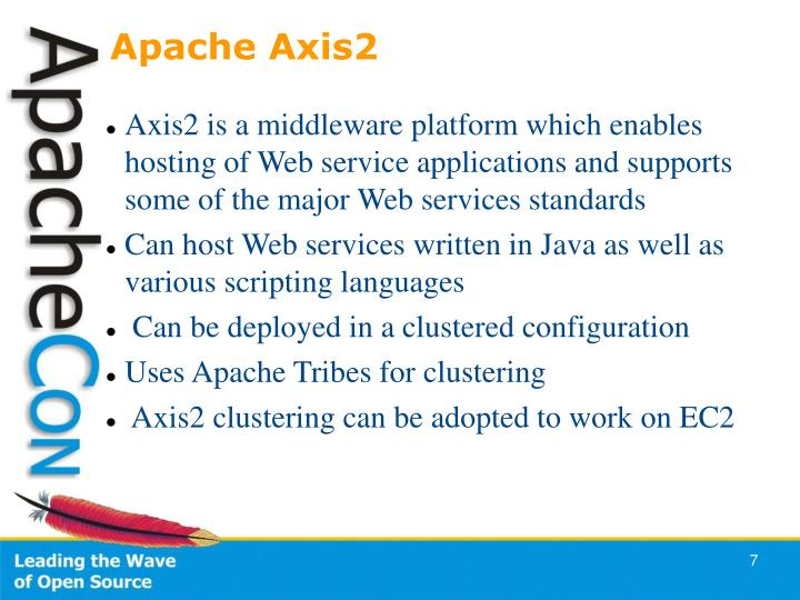 Axis2 is a middleware platform which enables hosting of Web service applications and supports some of the major Web services standards