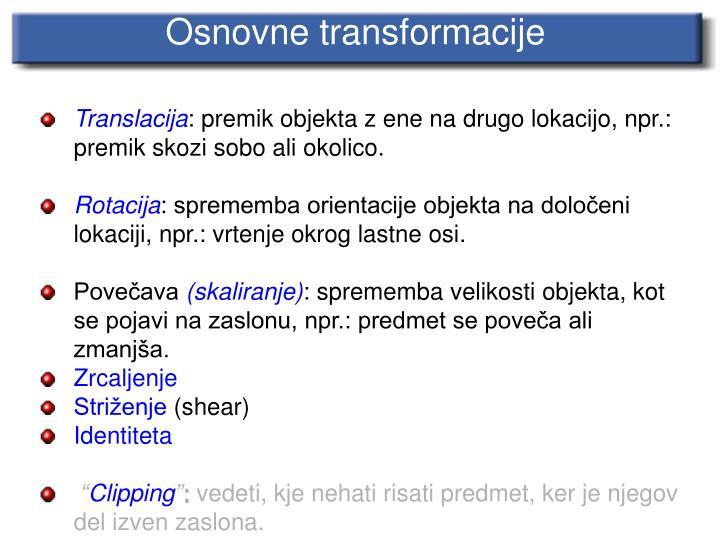 Osnovne transformacije