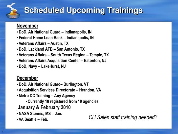 Scheduled Upcoming Trainings