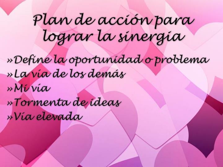 Plan de acción para lograr la sinergia