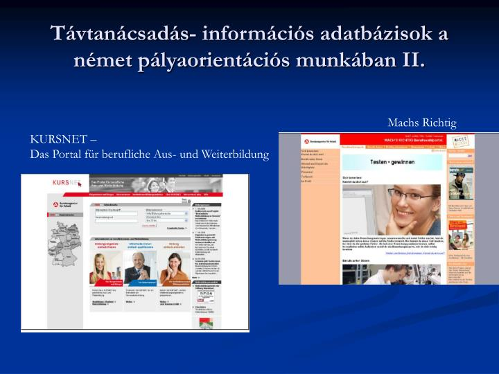 Távtanácsadás- információs adatbázisok a német pályaorientációs munkában II.