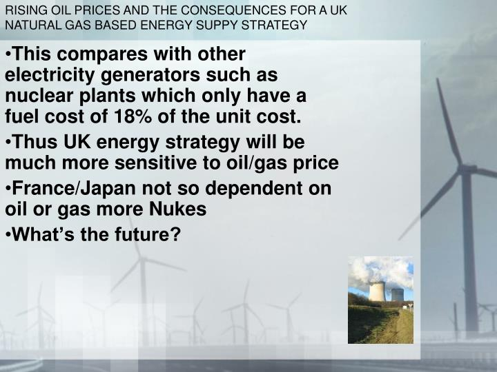 RISING OIL PRICES AND THE CONSEQUENCES FOR A UK NATURAL GAS BASED ENERGY SUPPY STRATEGY