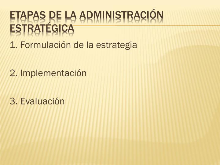 1. Formulación de la estrategia