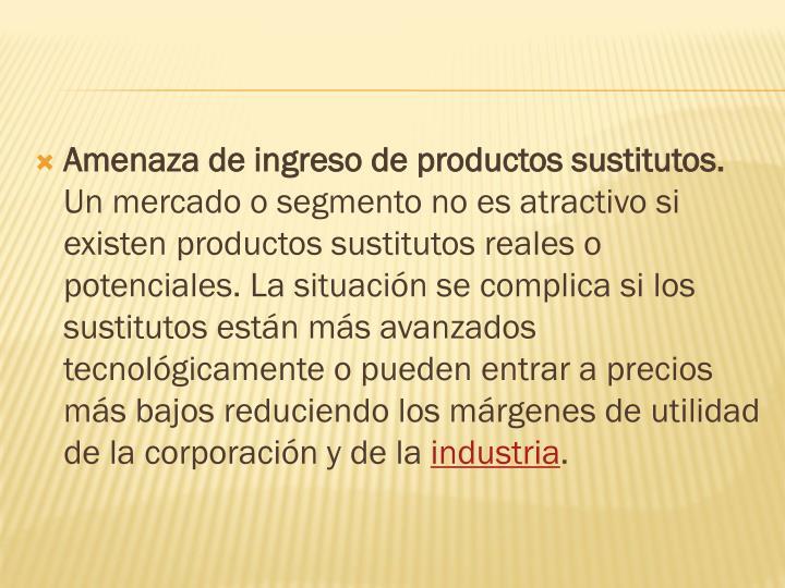 Amenaza de ingreso de productos sustitutos.