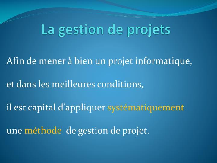 La gestion de projets