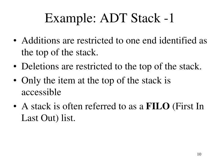 Example: ADT Stack -1