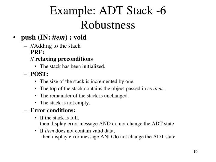 Example: ADT Stack -6
