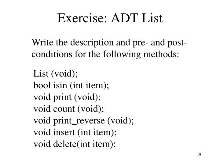Exercise: ADT List