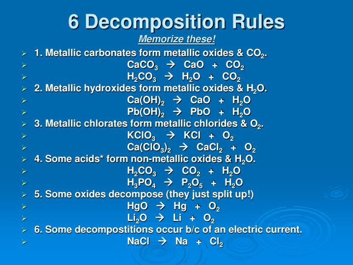 6 Decomposition Rules