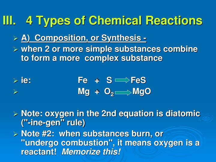 III.   4 Types of Chemical Reactions